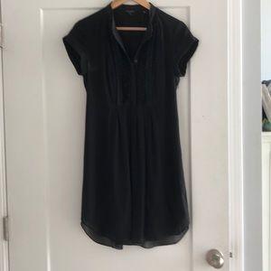 Ted Baker black dress. Side zip, front detail.